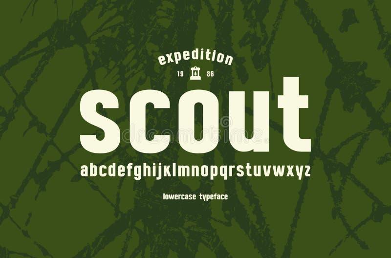 Fuente minúscula original de sans serif ilustración del vector