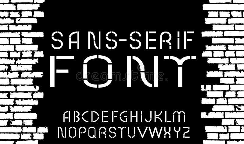 Fuente moderna blanco y negro de sans serif en viejo fondo de la pared de ladrillo ilustración del vector