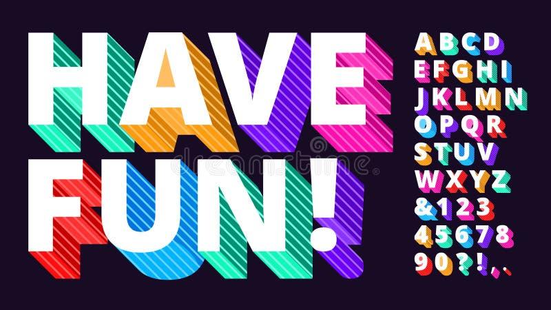 Fuente moderna colorida Alfabeto rayado 3d, tipo que pone letras divertido y sistema vivo artístico del ejemplo del vector de las stock de ilustración