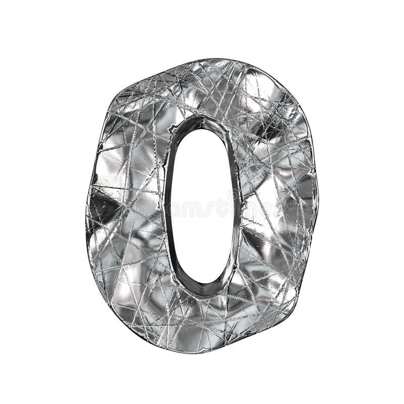 Fuente número 0 del papel de aluminio del Grunge CERO 3D libre illustration