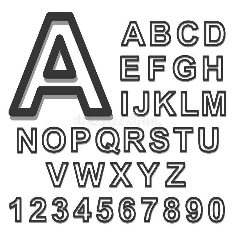 fuente negra determinada del alfabeto 3d en un fondo blanco Ilustración del vector stock de ilustración