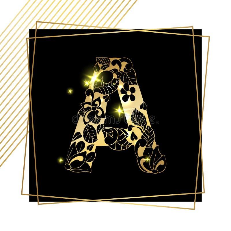 Fuente ornamental de oro de la letra A del alfabeto ilustración del vector