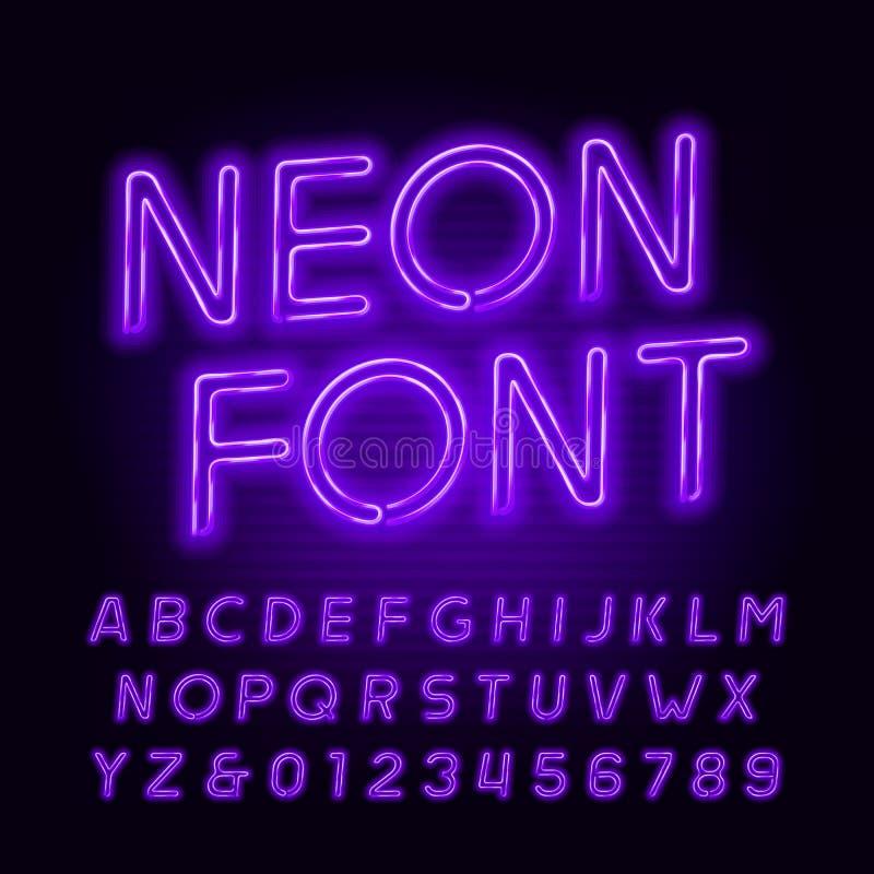 Fuente púrpura del alfabeto del tubo de neón Letras oblicuas y números del color de neón Tipografía común del vector stock de ilustración