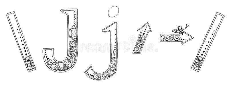 Fuente a pulso del bosquejo del lápiz de Venda del símbolo de la flecha de J libre illustration