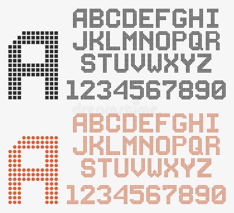 Fuente punteada en alfabeto retro del estilo, redondeado y pixeled ilustración del vector