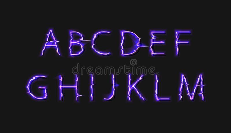 Fuente que brilla intensamente de la distorsión de la interferencia del vector, color brillante púrpura, primera parte del alfabe ilustración del vector
