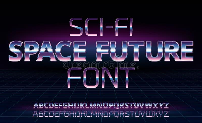 Fuente retra de la ciencia ficción stock de ilustración