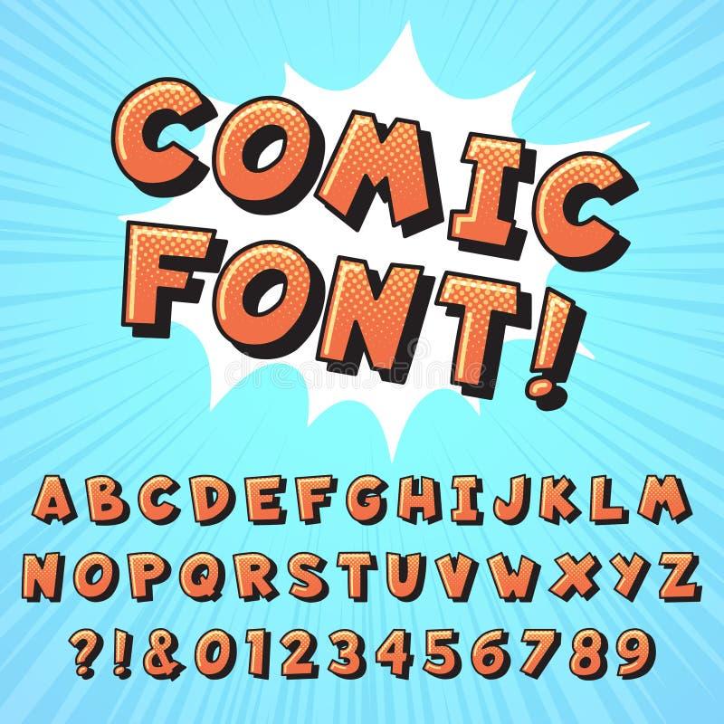 Fuente retra del cómic Letras de los tebeos del superhéroe, fuentes de los héroes de la historieta del vintage y vector del alfab stock de ilustración