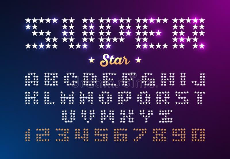Fuente retra del estilo del disco hecha de estrellas libre illustration