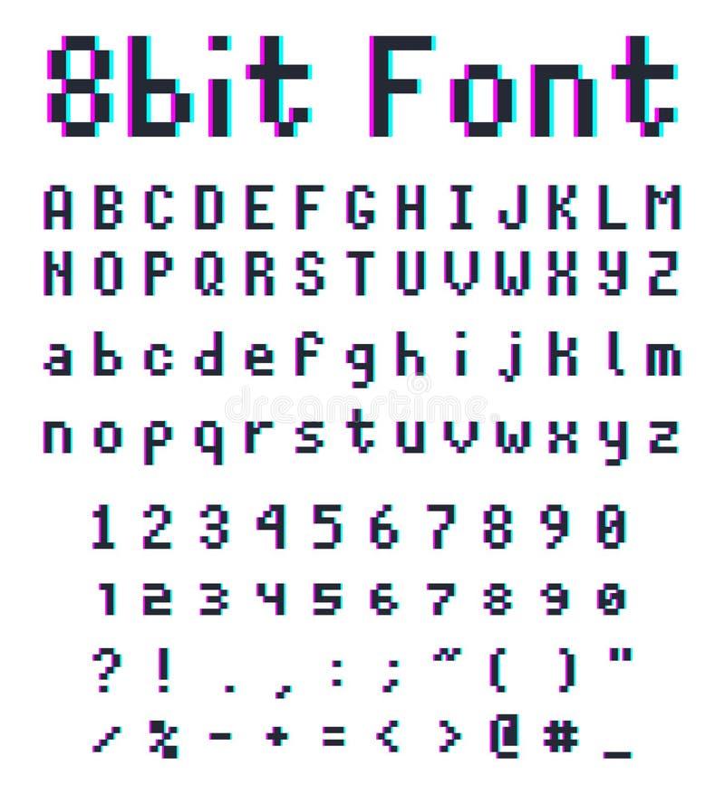 Fuente retra del pixel, alfabeto de 8 bits ilustración del vector