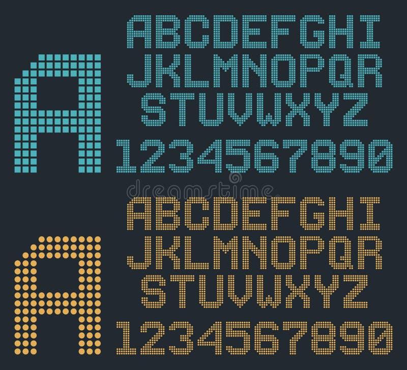 Fuente retra del pixel, alfabeto redondeado y números ilustración del vector