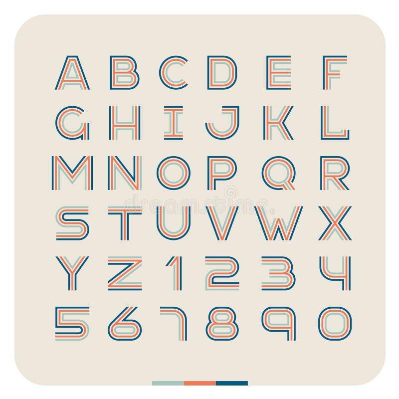 Fuente retra del vintage del esquema Letras latinas con números libre illustration