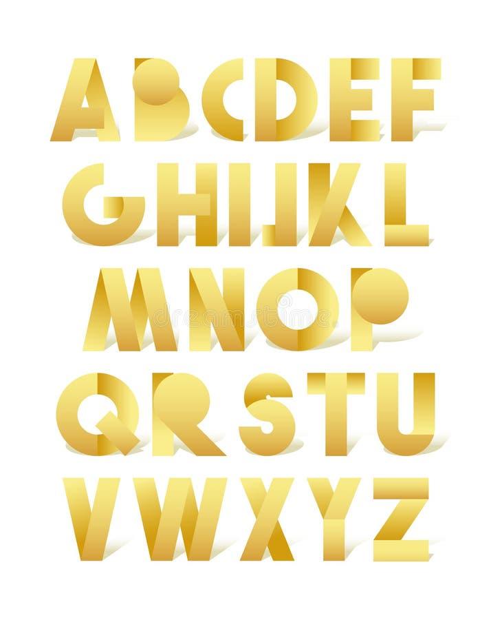 Fuente retra en oro Alfabeto de oro Letras realistas libre illustration