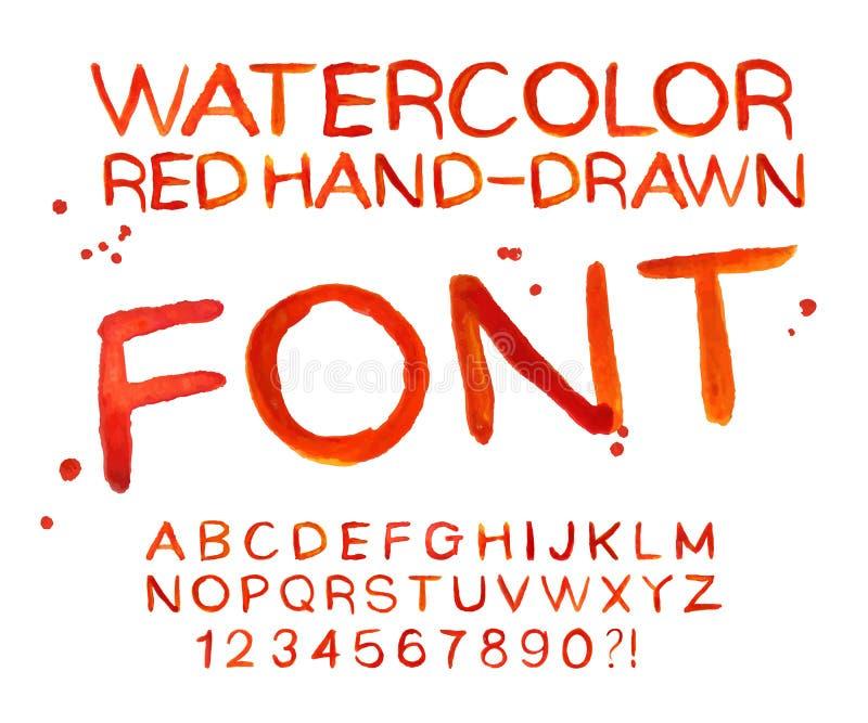 Fuente roja de la acuarela del vector, letras manuscritas ABC ilustración del vector