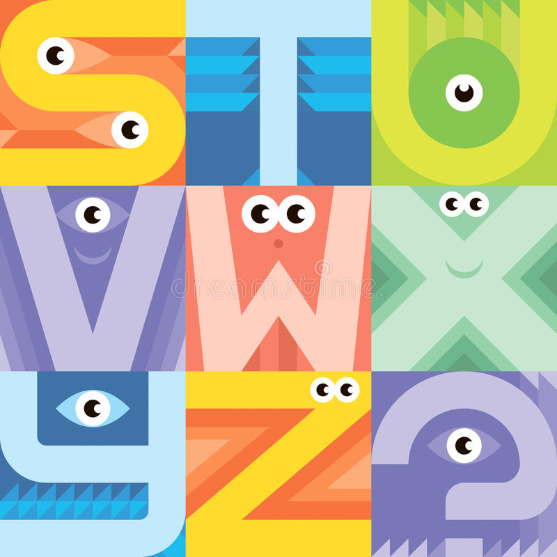 Fuente S T U V del monstruo W X Y Z stock de ilustración