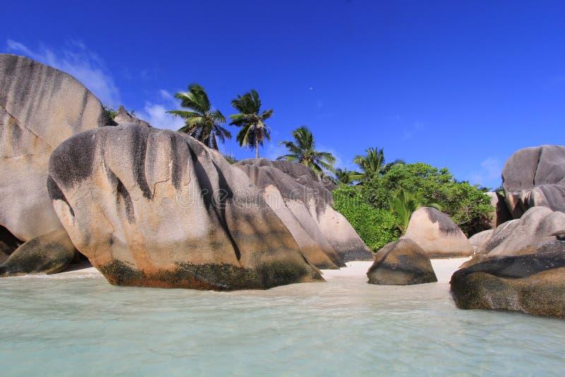 Fuente Seychelles d'Argent de Anse de la playa fotografía de archivo