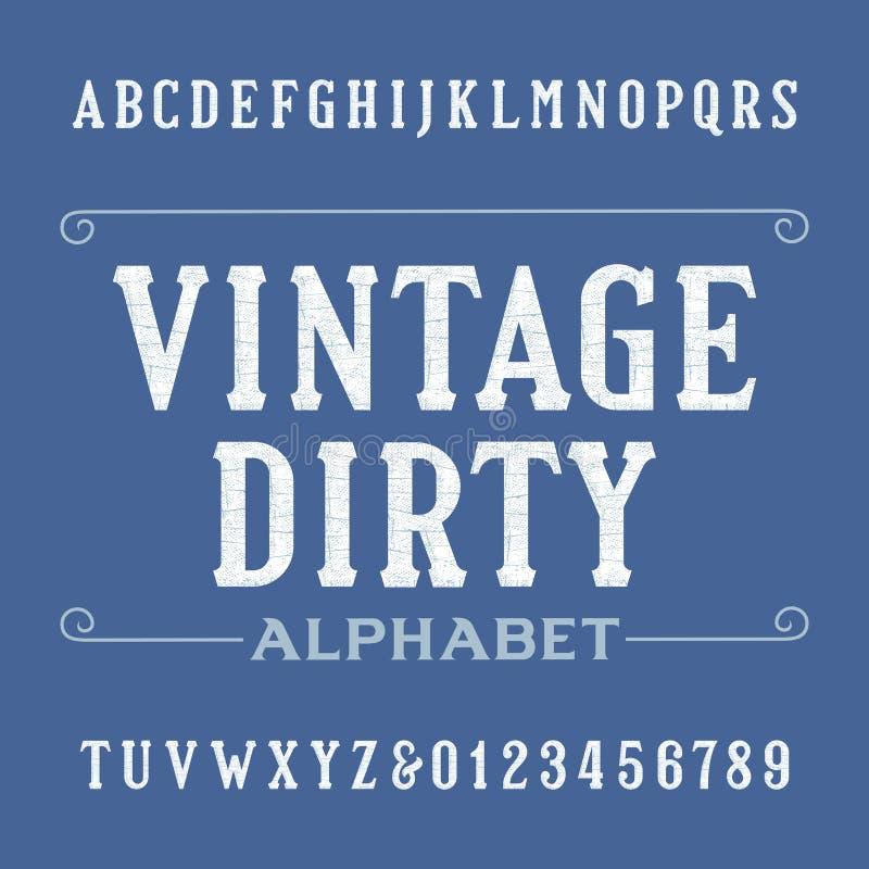 Fuente sucia del alfabeto del vintage Letras y números apenados del trazo de pie ilustración del vector
