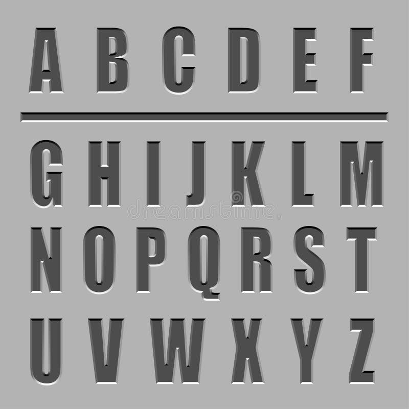 Fuente tallada piedra del alfabeto stock de ilustración