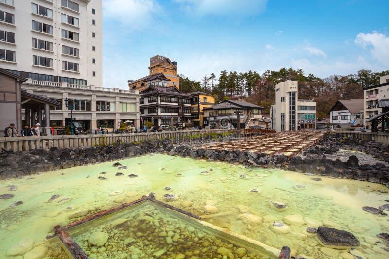 Fuente termal de Yubatake en Kusatsu Onsen en Gunma, Japón foto de archivo libre de regalías