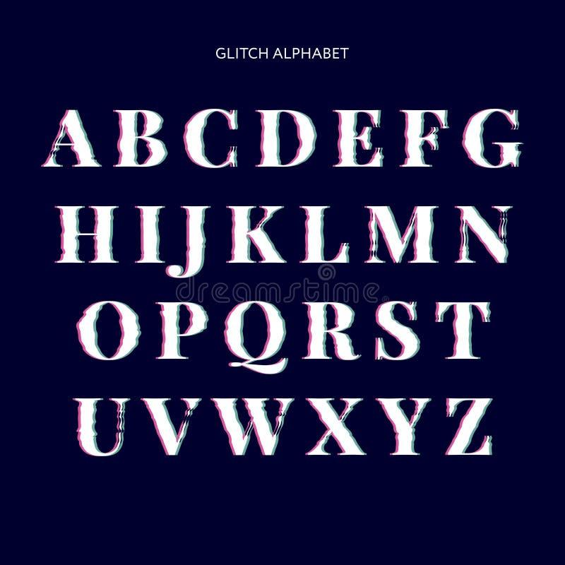 Fuente torcida vector de la interferencia Tipografía de moda de las letras del estilo Letras latinas de A a Z libre illustration