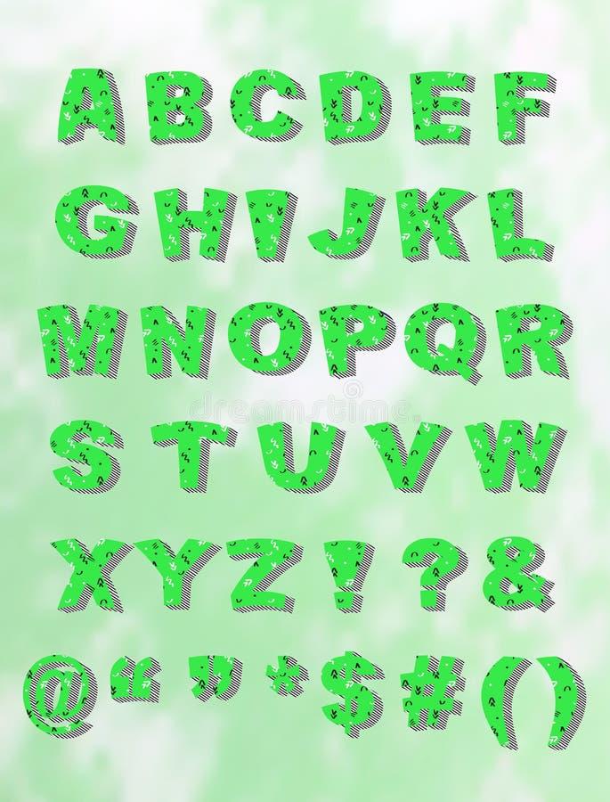 Fuente verde del bloque de Whimiscal con la sombra stock de ilustración