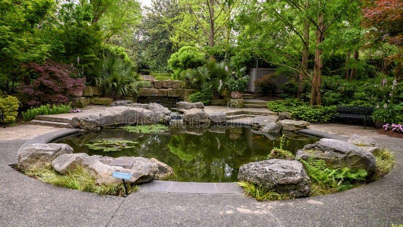 Fuente y 'Genesis Garden titulado jardín 'en Dallas Arboretum y el jardín botánico foto de archivo libre de regalías