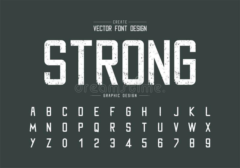 Fuente y alfabeto de la textura , Diseño de tipo y número de letra en bruto, Texto gráfico en segundo plano foto de archivo