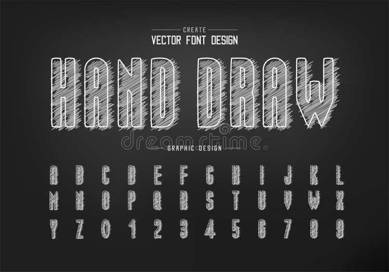 Fuente y vector de alfabeto, letra de letra de letra y diseño de número de dibujo manual fotos de archivo