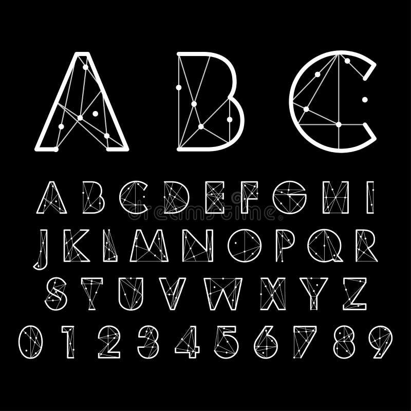 Fuentes alfabéticas y números ilustración del vector