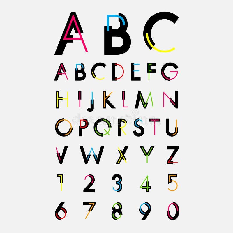 Fuentes alfabéticas y números libre illustration