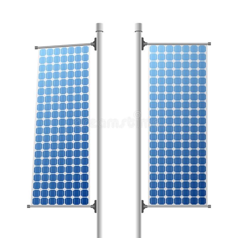 Fuentes de energía ecológicas de los paneles solares fijadas ilustración del vector