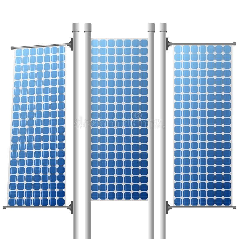 Fuentes de energía renovables de los paneles solares fijadas ilustración del vector