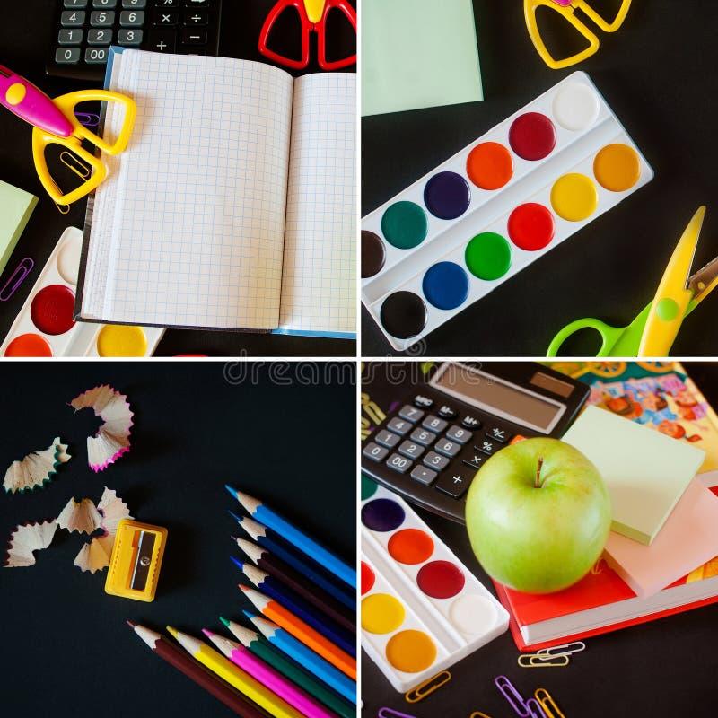 Fuentes de escuela en fondo de la pizarra De nuevo a concepto de la escuela collage foto de archivo libre de regalías
