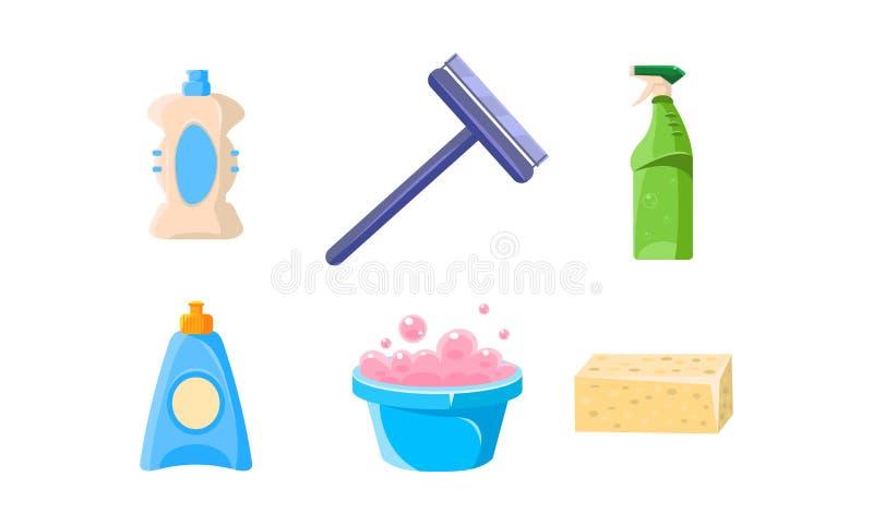 Fuentes de limpieza del hogar sistema, lavabo, rociador, enjugador, esponja, botellas de ejemplo del vector de los productos de l stock de ilustración