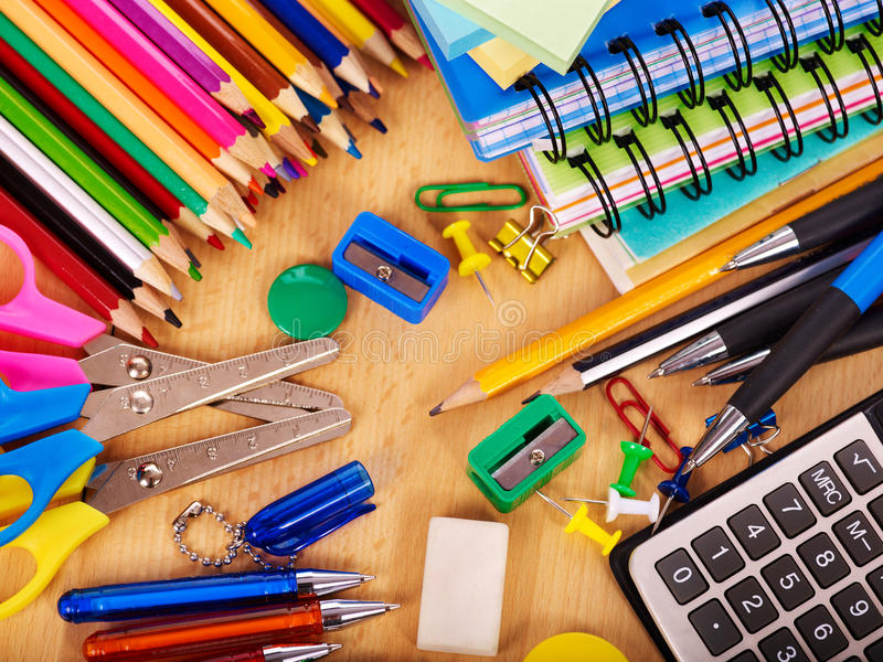 Fuentes de oficina de escuela. fotografía de archivo libre de regalías