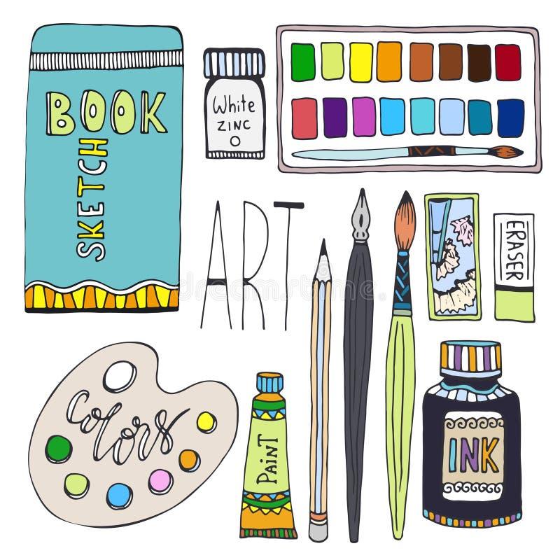 Fuentes del arte para dibujar El vector de la historieta fijó con las pinturas, la paleta, el sketchbook y otros materiales ilustración del vector