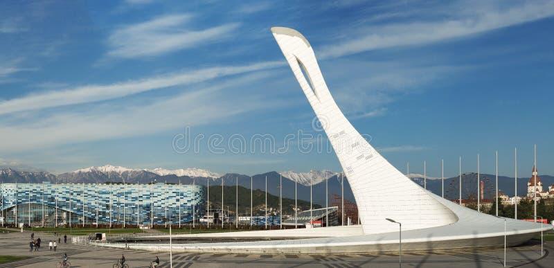 Fuentes del canto en parque olímpico en Sochi fotos de archivo