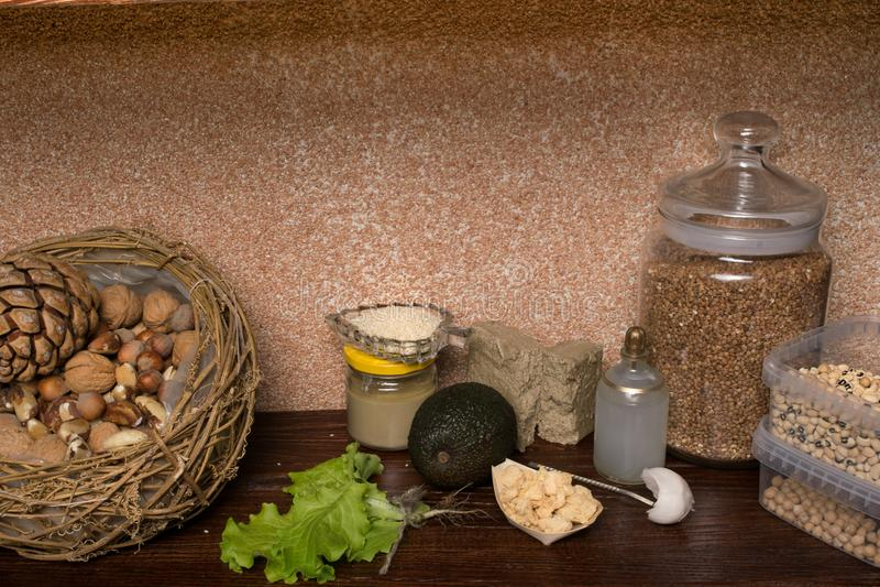 Fuentes del vegano de proteína Concepto sano del alimento fotos de archivo libres de regalías