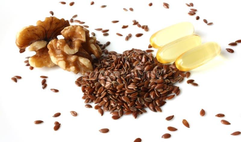 Fuentes excelentes de los ácidos grasos Omega-3 imágenes de archivo libres de regalías
