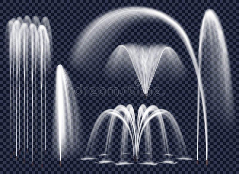 Fuentes realistas en sistema transparente del fondo stock de ilustración
