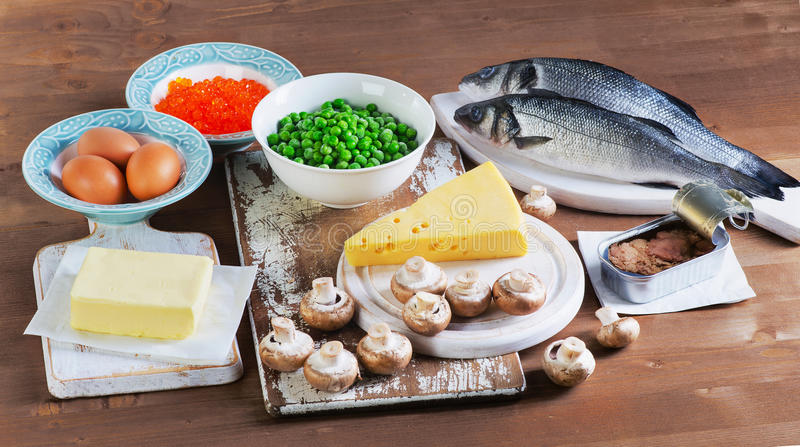Fuentes sanas de la comida de la vitamina D imagen de archivo