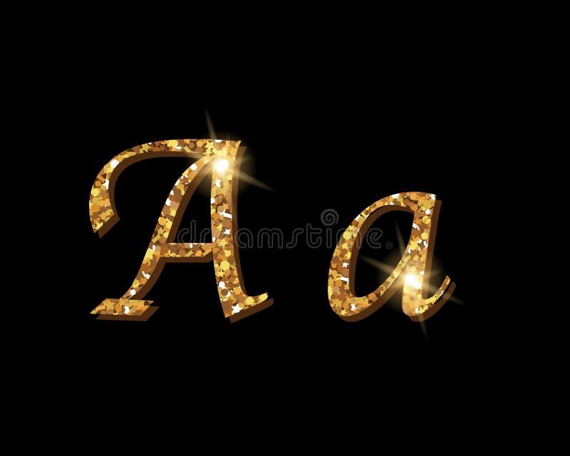 Fuentes tipográficas de lujo de oro Shinning del alfabeto ilustración del vector