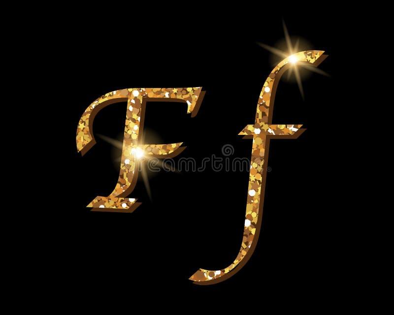 Fuentes tipográficas de lujo de oro Shinning del alfabeto stock de ilustración