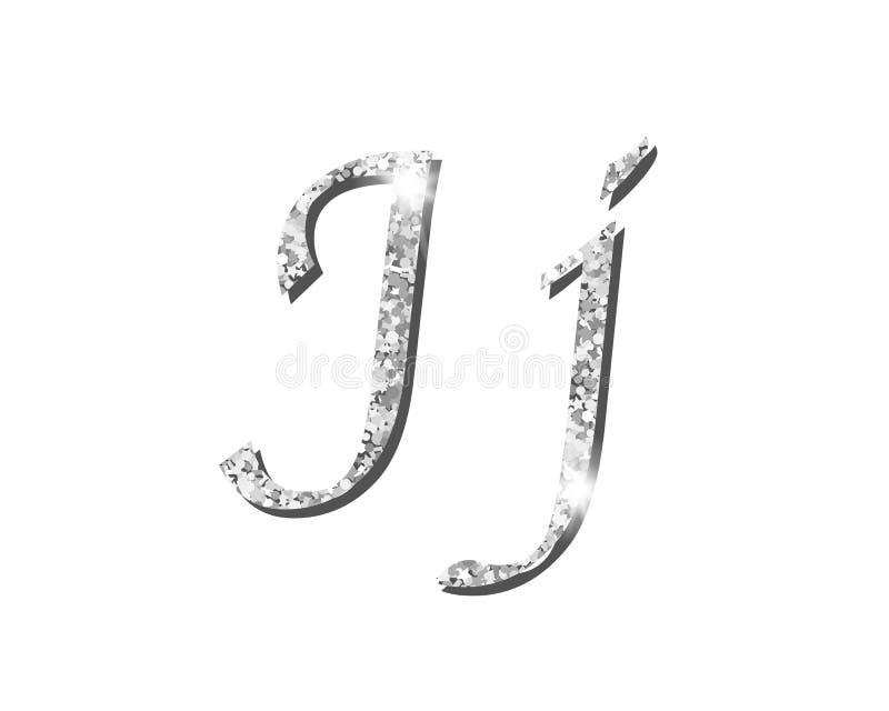 Fuentes tipográficas de lujo de plata Shinning del alfabeto libre illustration