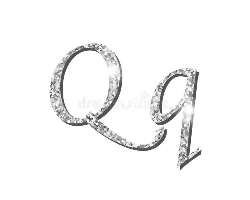 Fuentes tipográficas de lujo de plata Shinning del alfabeto stock de ilustración