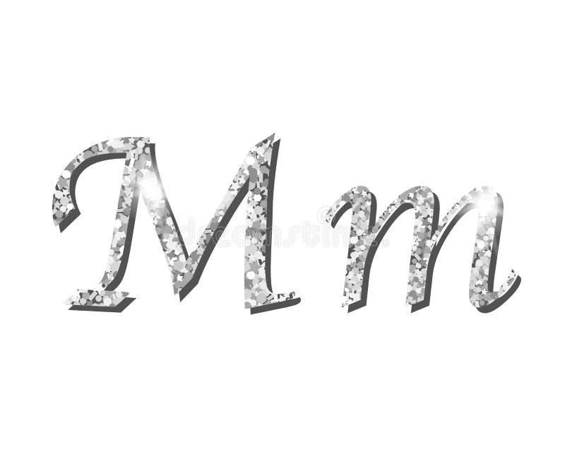 Fuentes tipográficas de lujo de plata Shinning del alfabeto ilustración del vector