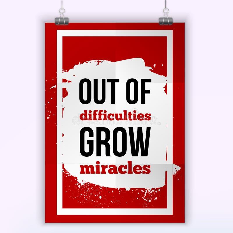 Fuera de dificultades crezca los milagros Diseño simple del vector Motivando, cita positiva Cartel para la pared Tamaño A4 fácil stock de ilustración