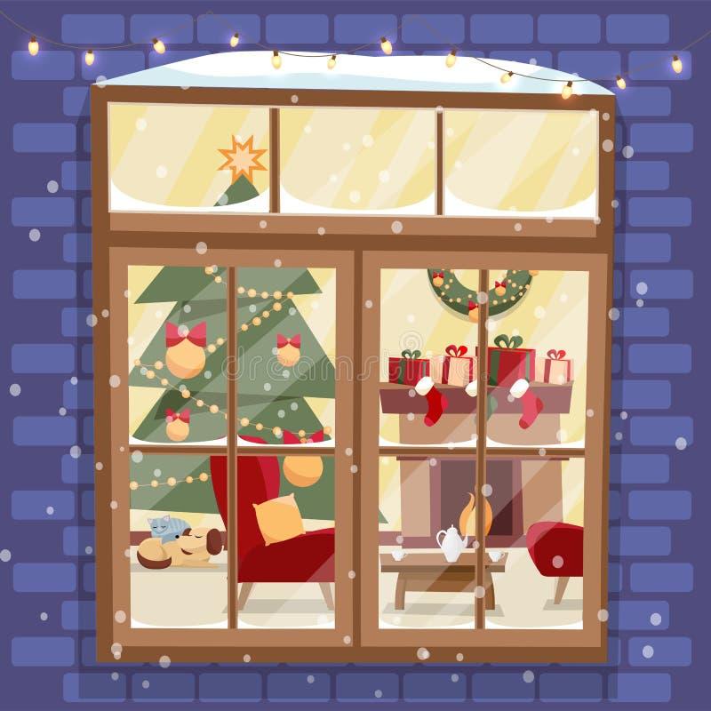 Fuera de la pared de ladrillo con la ventana - árbol de navidad, furnuture, guirnalda, chimenea, pila de regalos y animales domés ilustración del vector