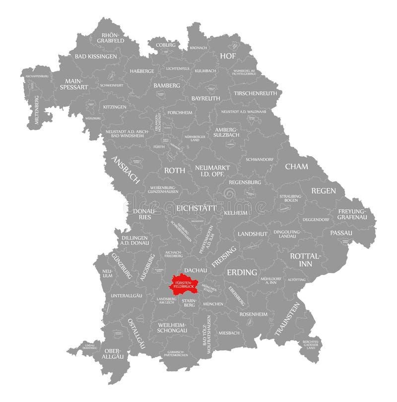 Fuerstenfeldbruck okręgu administracyjnego czerwień podkreślająca w mapie Bavaria Niemcy ilustracji