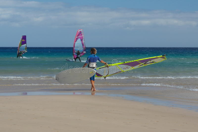 Fuertaventura surfingowiec obrazy royalty free